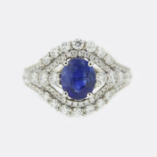 Oval Cut Sapphire and Diamond Cluster Ring 18ct White Gold