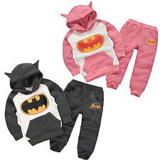 2PCS Kids Baby Girl Boy Outfits Batman Hoodie Sweatshirt Tops+Pants Clothes Set