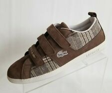 Lacoste Observe Tweed Sneakers Mens Brown Leather Carnaby Triple Strap Close 10