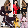 UK Womens 2 PCS Tracksuits Set Ladies Striped Cropped Hooded Loungewear Size6-14