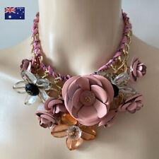Pink Metal Crystal Flower Chain Bib Big Chunky Choker Necklace Collar Pendant