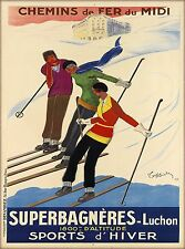 Superbagneres-Luchon Saint-Aventin France Vintage French Travel Art Poster