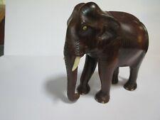 Vintage Hand Carved Wood Elephant Trunk Down Tusks