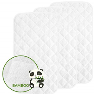 Waterproof Changing Mat Liners Quilted, Pack of 3, Baby Skin Friendly Bamboo in