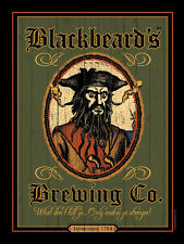 Blackbeard's Brewing Co. Pirate Ocean Beach Metal Sign