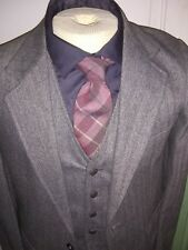 Vtg 60's-70's Cool Steve McQueen Gray Flannel Herringbone Men 3 Piece Suit 38