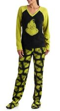 Dr. Seuss Allover Grinch Footed Pajamas 2 Piece Footie NEW XL LAST ONE