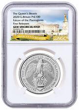 2020 1 oz Platinum Queen's Beasts Falcon of Plantagenets Ngc Gem Bu Fr Sku60084