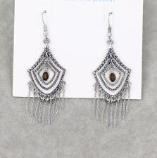 lia sophia signed jewelry vintage silver tone earrings tassel hoop drop dangle