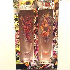 Ed Hardy Pilsner Glasses MERMAIDS by Christian Audigier Set of 2 NIB