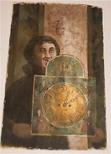 """The Clock"" Casein Painting-Fanciful,Fantastic,Modernist-1968-William Gorman"