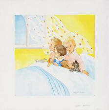 MAGDA HELLER Vintage 1930's Lithograph BED TIME, Children & Dog