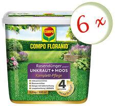 Sparset: 6 x COMPO Floranid® Rasendünger gegen Unkraut + Moos Komplettpflege, 9