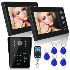 "7""TFT LCD RFID Video Door Phone Intercom System IR Camera Touch Key&2 Monitor"