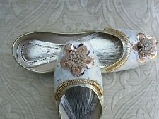 WHITE INDIAN LADIES WEDDING PARTY  KHUSSA SHOES SIZE 5