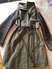 Samsoe Samsoe Dark Green And Black Wool And Leather Vikil Winter Coat Belted M