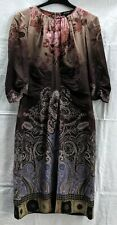 ETRO Women's Floral/Paisley Brown 3/4 Sleeve Silk Dress Size 44 IT (US 8)