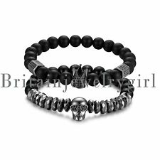 2PCS Black Matte Onyx Stone Beads Crown King Skull Couple Bracelet for Men Women