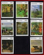 TANZANIA =great PAINTINGS MNH CV$12.00 MONET, DEGAS, GAUGUIN, CATTLE, ballet