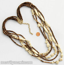 Chico's Signed Necklace Gold Tone Multi Strand Ivory Color Stone & Wood Beads