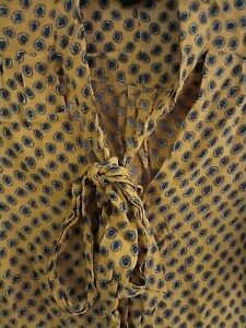 Vintage Topshop UK 8 Yellow/Orange/Blue Shirt With Bow Tie Detail On Neck