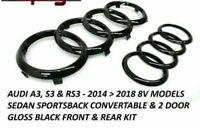 Black Gloss Set Front Rear Grille Badge Rings Logo Emblem Audi A3 A4 A5 A6 Sline