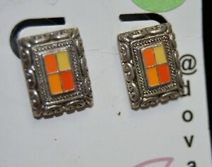 Pair silvery rectangle & enamel Earrings for pierced ears Dovajeans