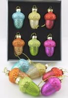 GISELA GRAHAM CHRISTMAS MULTICOLOURED GLITTER GLASS ACORN BAUBLE DECORATION X 6