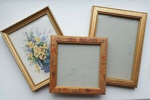 Small Vintage Picture Frames Set of 3 Joblot Gold Wooden Glass Wood Used Unusual