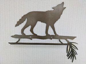 Wolf Brown Metal Steel Figure w/ Shelf Rustic Cabin Wall Decor NEW