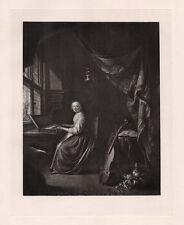 "Beautiful 1800s GERRIT DOU Antique Print ""Girl at the Harpsichord"" FRAMED COA"