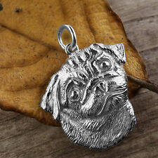 Sterling Silver PUG DOG Pendant or Charm