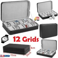 12 Grid PU Leather Watch Carry Case Zip Up Closure Velvet Inner 12 Slots Watches