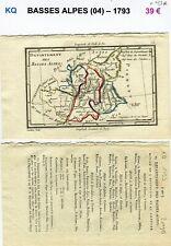 Dépt 04 - XVIII ème Siècle Belle Carte Gravure sur Cuivre Aquarellée de 1793