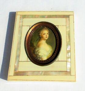Raro 19TH Siglo Maria Adelaida Princesa De Francia Miniatura Sobre Madre Perla