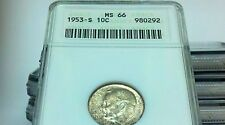 SILVER 1953-S ANACS MS66 ROOSEVELT PRICE LIST $30.00 NOT COUNTING CERTIFIED SLAB