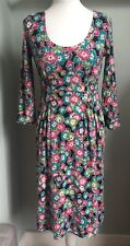 EAST Bright Floral Jersey Dress Size 10 Stretch 3/4 Slvs Pleat Detail Skirt