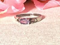 Vintage 925 sterling silver amethyst band ring.  Size 7