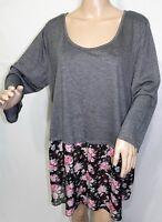 Kristin Nicole Women Plus Size 2x 3x Gray Pink Floral Tunic Top Blouse Shirt