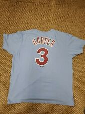 Philadelphia Phillies Majestic Bryce Harper Blue Jersey T-Shirt XL