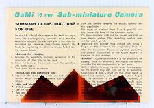 Original GaMi 16 Instructions - 2-sided, no print date