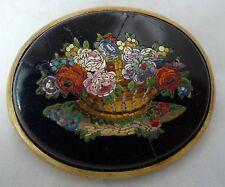 Antiguo Dorado Metal Micro Mosaico De Flores Broche 5cm X 4.1cm 32g A602017 AF