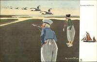 TUCK Dutch Natives Men Smoking Birds CROW Art Deco c1910 Postcard