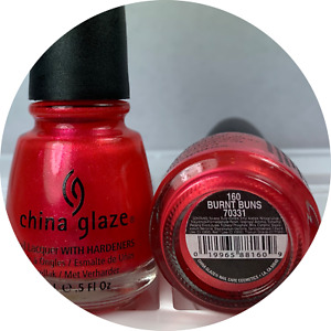 China Glaze Nail Polish BURNT BUNS 160 Bright Barbie Pink Red Shimmer Lacquer