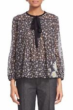 $425 NWT Marc Jacobs Daisy Print Sheer Tie Neck Peasant Black Multi Blouse Sz 2
