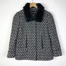 Dolce And Gabbana Womens Size 42 Wool Blend Jacket Rabbit Fur Collar Black White