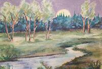 Vintage post impressionist pastel painting night river landscape