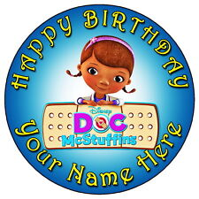 "DOC MCSTUFFINS PARTY - 7.5"" PERSONALISED ROUND EDIBLE ICING CAKE TOPPER"