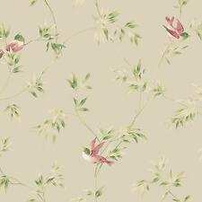 Wallpaper Songbird Vine Cute Birds Red Green Tan on Pearl Beige Background