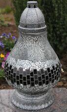 Grablicht 36cm Grablaterne silber Grableuchte Glas Grabschmuck Kerze Mosaik 27